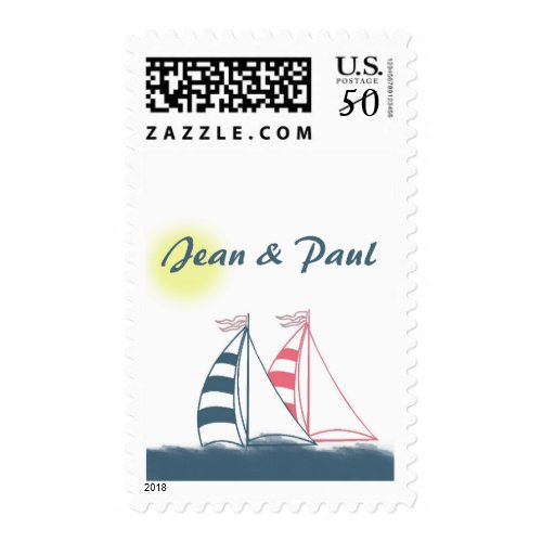 Pink and blue sailboats - customize with your name postage