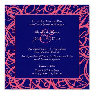 Pink and Blue Sketchy Frame Wedding Invitation