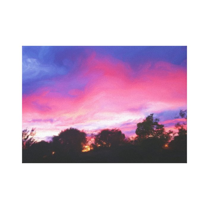 pink and blue sky at sunset oil painting print zazzle com pink and blue sky at sunset oil painting print zazzle com