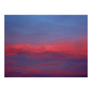 Pink and Blue Sky at Sunset with Clouds Print