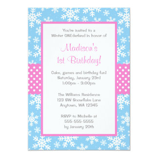 Pink and Blue Snowflakes Winter Onederland Card
