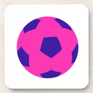 Pink and Blue Soccer Ball Beverage Coaster