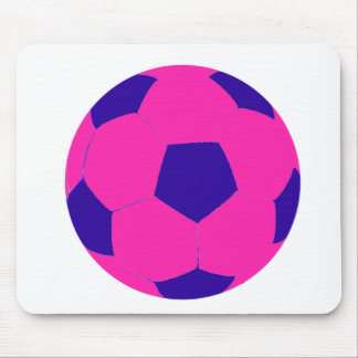 Pink and Blue Soccer Ball Mouse Pad
