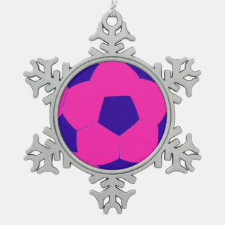 Pink and Blue Soccer Ball Snowflake Pewter Christmas Ornament
