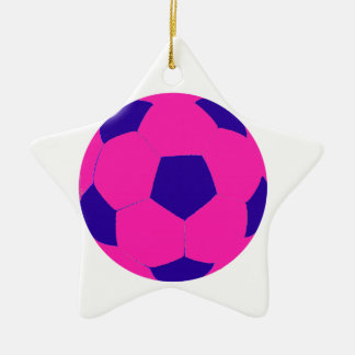 Pink and Blue Soccer Ball Double-Sided Star Ceramic Christmas Ornament