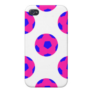 Pink and Blue Soccer Ball Pattern iPhone 4 Case