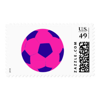 Pink and Blue Soccer Ball Postage Stamps