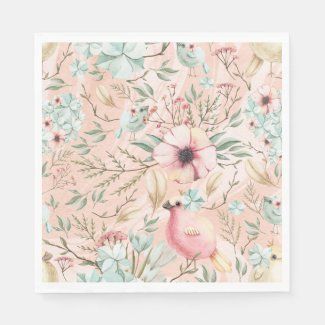 Pink and Blue Spring Chicks Adorable Napkins