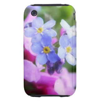 Pink And Blue Spring Flowers iPhone 3 Tough Covers