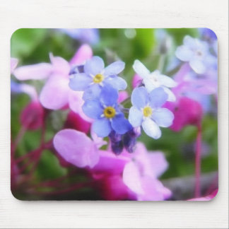 Pink And Blue Spring Flowers Mouse Pad