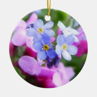 Pink And Blue Spring Flowers Christmas Ornaments
