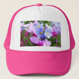 Pink And Blue Spring Flowers Trucker Hat