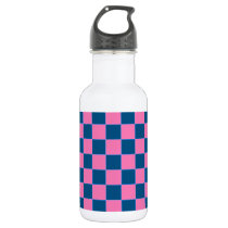 Pink and blue square pattern stainless steel water bottle