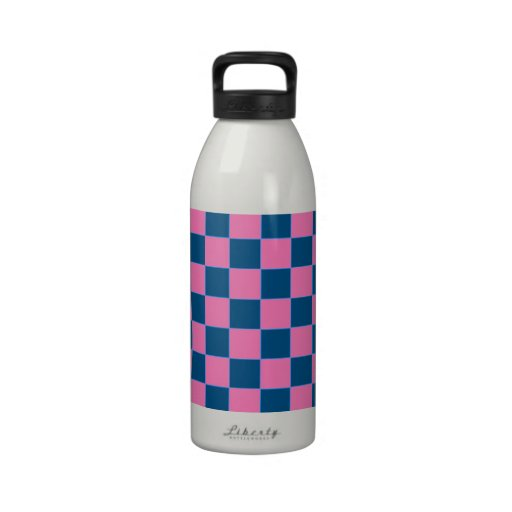 Pink and blue square pattern drinking bottles