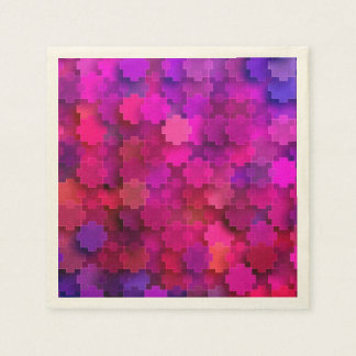 Pink and Blue Square Puzzle Pieces Pattern Paper Napkin