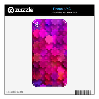 Pink and Blue Square Puzzle Pieces Pattern Skins For The iPhone 4S