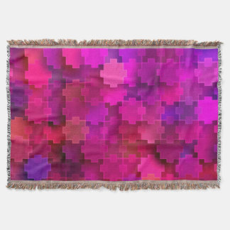 Pink and Blue Square Puzzle Pieces Pattern Throw
