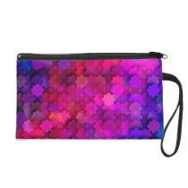 Pink and Blue Square Puzzle Pieces Pattern Wristlet