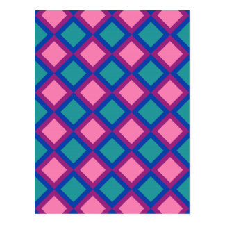 pink and blue squares or diamonds postcard
