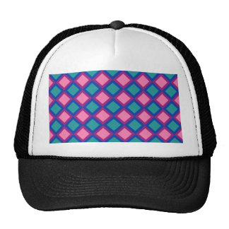 pink and blue squares or diamonds trucker hat