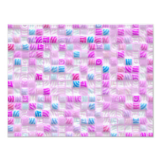 pink and blue squares pattern custom invitations