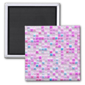 pink and blue squares pattern magnet