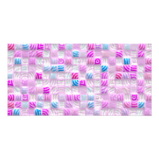 pink and blue squares pattern customized photo card