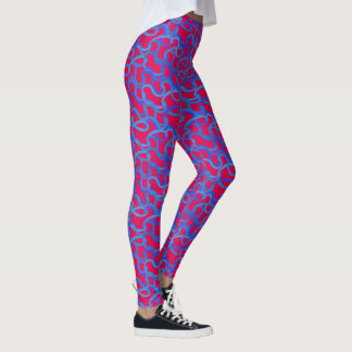 Pink and Blue Squiggles Leggings