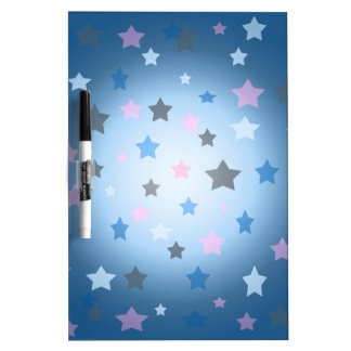 Pink and blue stars design pattern dry erase board