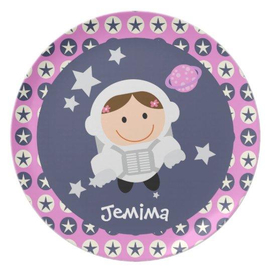 Pink and Blue Stars Spacegirl Plate