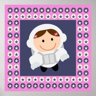 Pink and Blue Stars Spacegirl Print