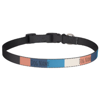 Pink and Blue Stripe Customizable Dog Collar