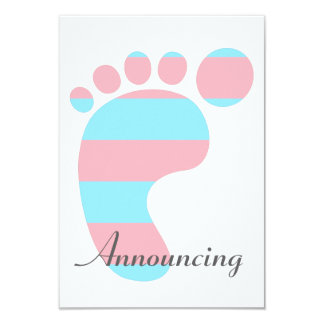Pink and Blue Striped Baby's Foot Announcement