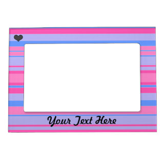 Pink and Blue Striped Magnetic Picture Frame