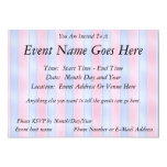 """Pink and Blue Stripes 5"""" X 7"""" Invitation Card"""