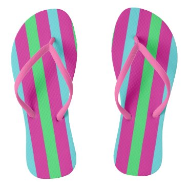 Beach Themed Pink and blue stripes flip flops