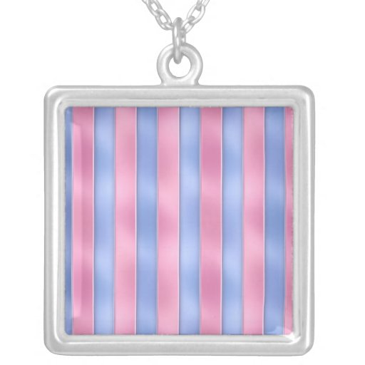 Pink and Blue Stripes Personalized Necklace