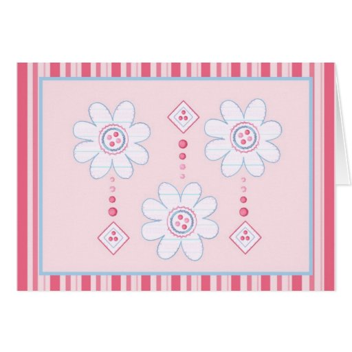 Pink and Blue Stripey Floral Cards and Postage