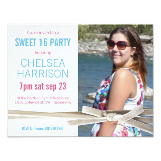 Pink and Blue Sweet 16 Photo Birthday Party Card