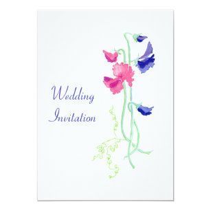Pink And Blue Sweet Peas Wedding Invitation