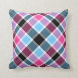 Pink and blue tartan throw pillow