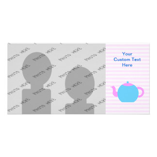 Pink and Blue Teapot Picture. Card