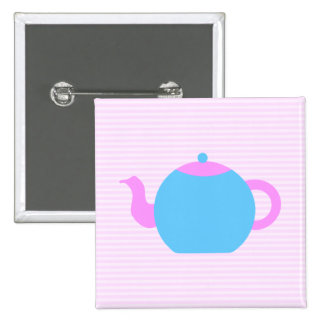 Pink and Blue Teapot Picture. Pinback Button
