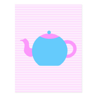 Pink and Blue Teapot Picture. Postcard