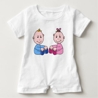 PINK AND BLUE TWINS Baby Romper
