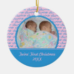 Pink and Blue Twins First Christmas Ornament
