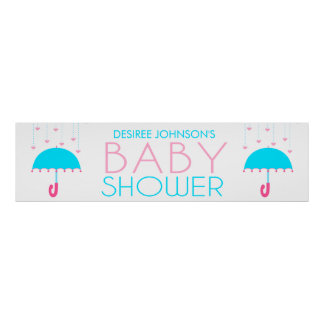 Pink and Blue Umbrella Baby Shower Banner Poster
