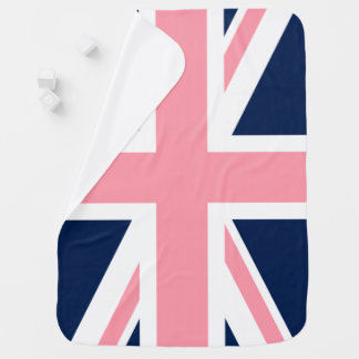 Pink and Blue Union Jack Flag Receiving Blanket
