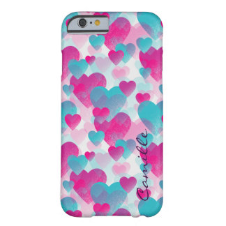pink and blue valetines hearts with name barely there iPhone 6 case