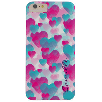 pink and blue valetines hearts with name barely there iPhone 6 plus case